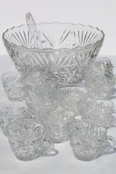 vintage Arlington pattern punch set, clear glass punch bowl & twelve cups