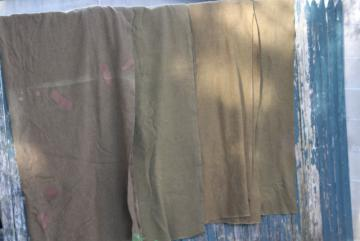 vintage Army blankets, 50s US military olive drab green wool camp blanket lot
