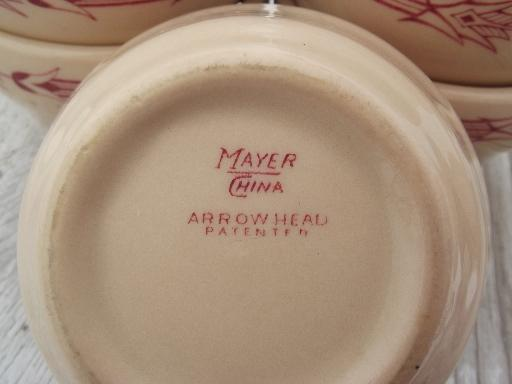 vintage Arrowhead railroad china custard / soup cups, tan adobeware  ironstone