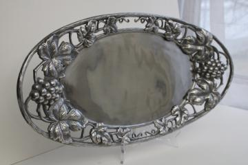 vintage Arthur Court aluminum serving tray w/ open handles, bunches of grapes