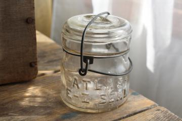 vintage Atlas E-Z Seal half pint size canning jar w/ glass lid & wire bail