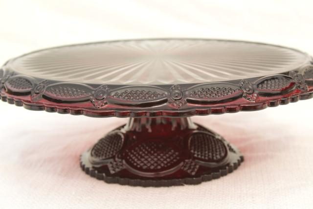 & vintage Avon Cape Cod pattern ruby red glass cake stand pedestal plate