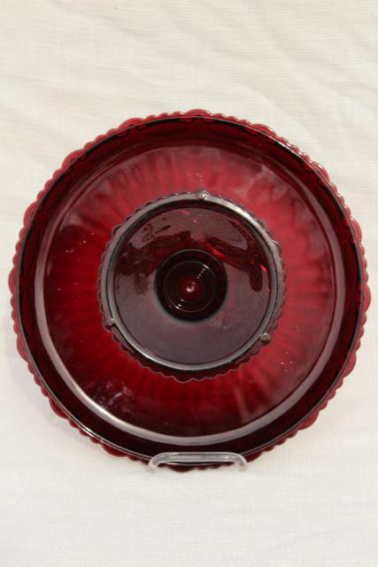 vintage Avon Cape Cod pattern ruby red glass cake stand, pedestal plate