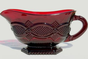 vintage Avon Cape Cod royal ruby red glass gravy boat or sauce pitcher
