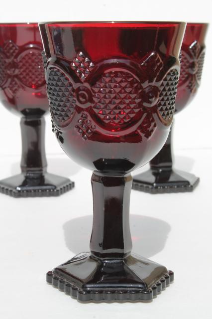 vintage Avon Cape Cod ruby red glass claret wine glasses, lot of five goblets