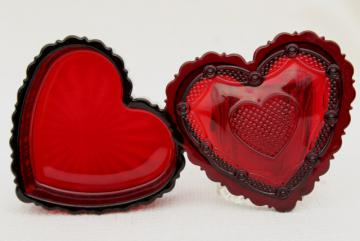 vintage Avon Cape Cod ruby red glass heart shaped trinket box for jewelry