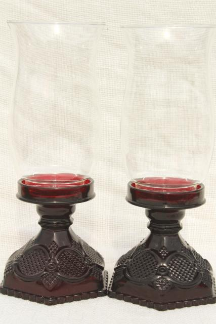 vintage Avon Cape Cod ruby red glass, hurricane candle lamp candlesticks pair