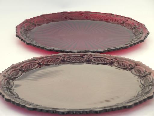 vintage  Avon Cape Cod  ruby red glass, set of two dinner plates
