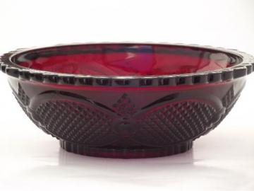 vintage Avon Cape Cod ruby red glass vegetable / serving bowl