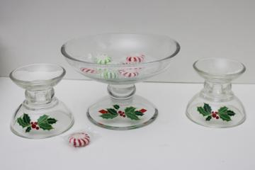vintage Avon Christmas holly pattern glass candy dish & candle holders