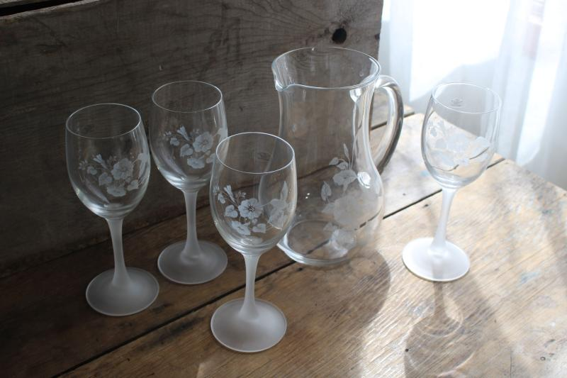 vintage Avon Hummingbird etched crystal wine glasses & pitcher, made in France