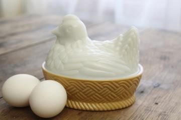 vintage Avon hen on nest covered dish, white milk glass w/ painted basket weave bowl