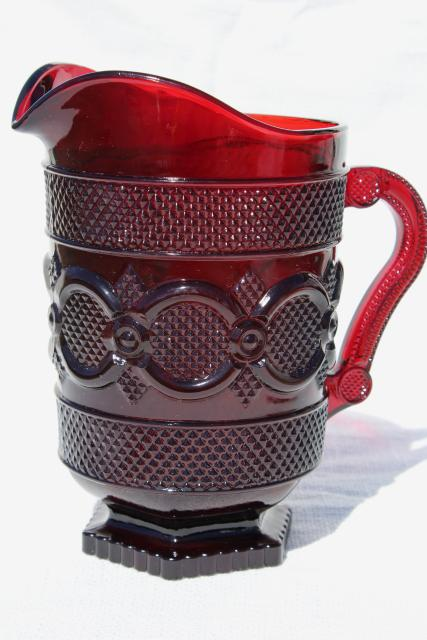 Avon/'s Cape Cod Red Glass Pitcher from the 1970s.