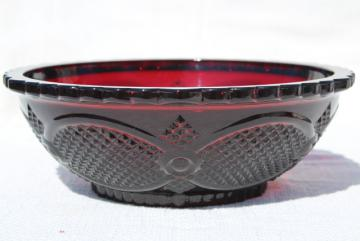 vintage Avon ruby red glass Cape Cod pattern serving bowl, salad or vegetable bowl