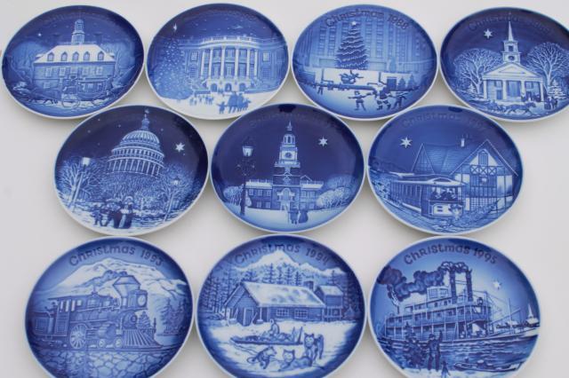 vintage bg royal copenhagen christmas in america series blue white mini plates - Royal Copenhagen Christmas Plates