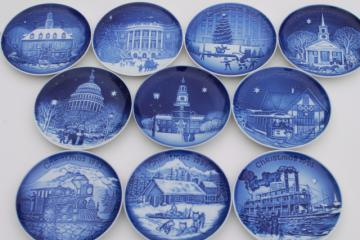 vintage B&G Royal Copenhagen Christmas in America series blue & white mini plates