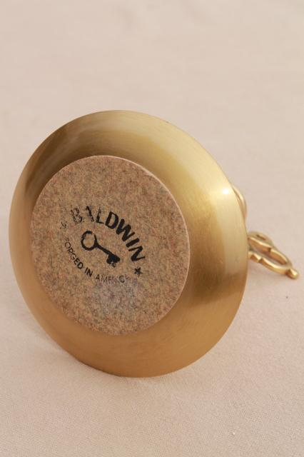 vintage Baldwin brass push up candle stick, colonial style reproduction hog scraper candle holder