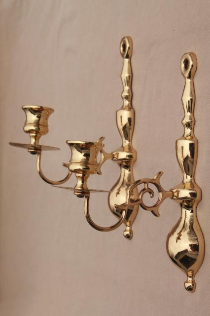 Brass Wall Sconces Candle Holders : vintage Baldwin brass wall mount candle holder sconces, polished solid brass