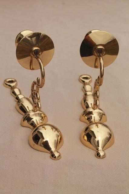 vintage Baldwin brass wall mount candle holder sconces, polished solid brass