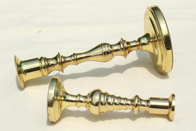 vintage Baldwin solid brass candle holders, large & small candlesticks
