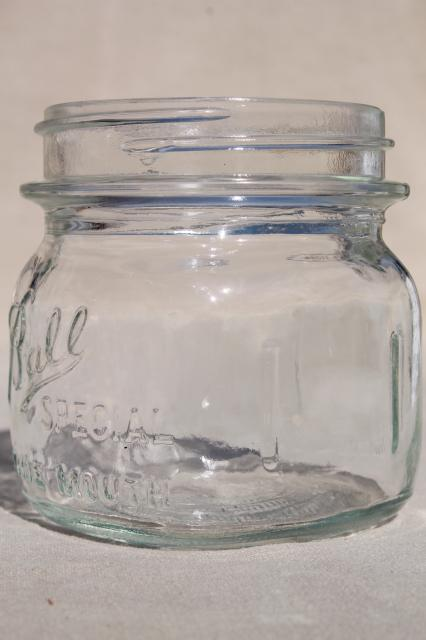 vintage Ball Mason Special half-pint wide mouth canning jars, fruit jelly or pickle jars