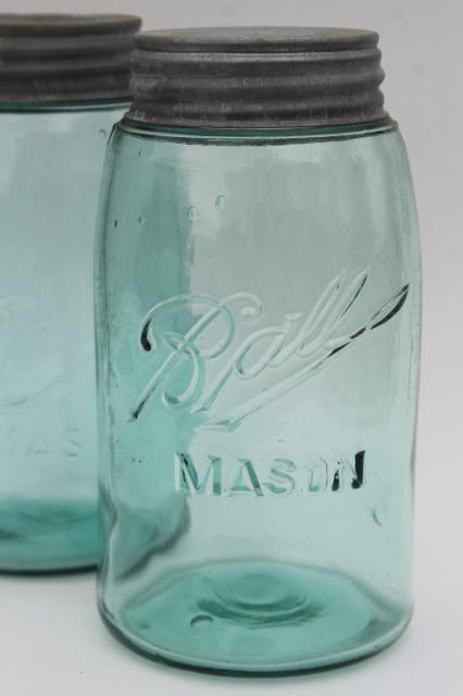 vintage Ball Mason canning jars, strong shoulder slope blue glass w/ zinc metal lids