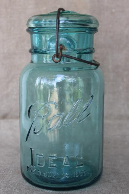 vintage Ball Mason jar wire bail quart w/ glass lid, antique embossed date July 14 1908