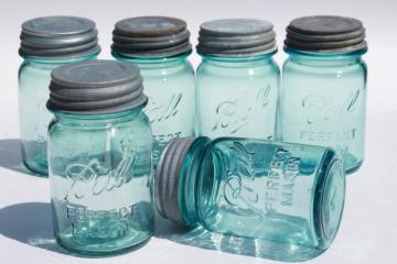 vintage Ball Perfect Mason aqua blue glass pint jars w/ old zinc metal lid