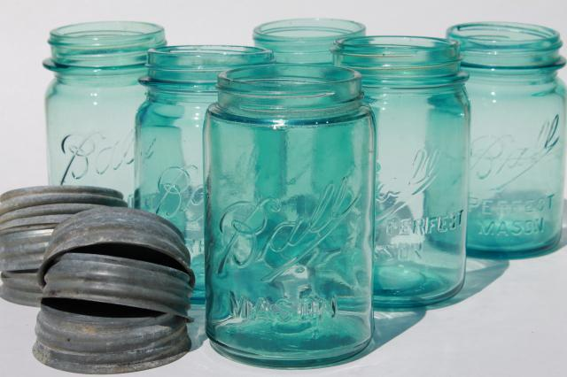 vintage Ball Perfect Mason aqua blue glass pint jars w/ old zinc metal lids