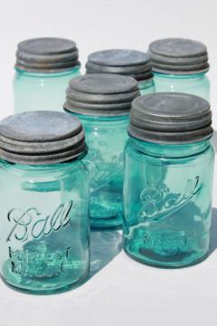 vintage Ball Perfect Mason aqua blue glass pint jars w/ old zinc metal lids