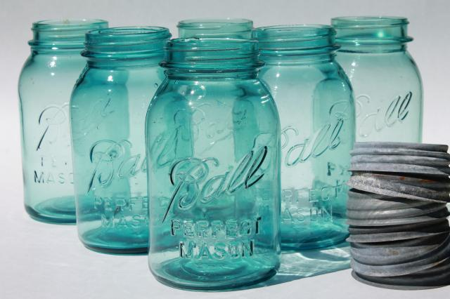 vintage Ball Perfect Mason aqua blue glass quart jars w/ old zinc metal lids