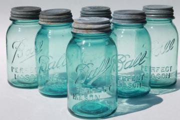 vintage Ball Perfect Mason aqua blue glass quart jars w/ old zinc metal lids
