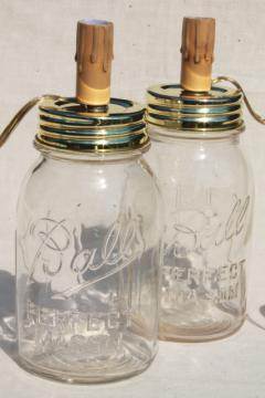 vintage Ball Perfect Mason canning jar canister table lamps w/ electric candles
