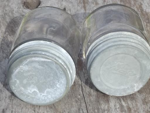 vintage Ball Perfect Mason jars w/ old zinc lids, small half-pint jelly jars
