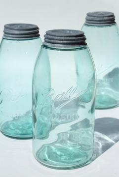 vintage Ball mason canning jars, antique blue glass strong slope shoulder jar shape