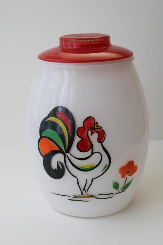 vintage Bartlett Collins glass cookie jar canister w/ hand painted rooster