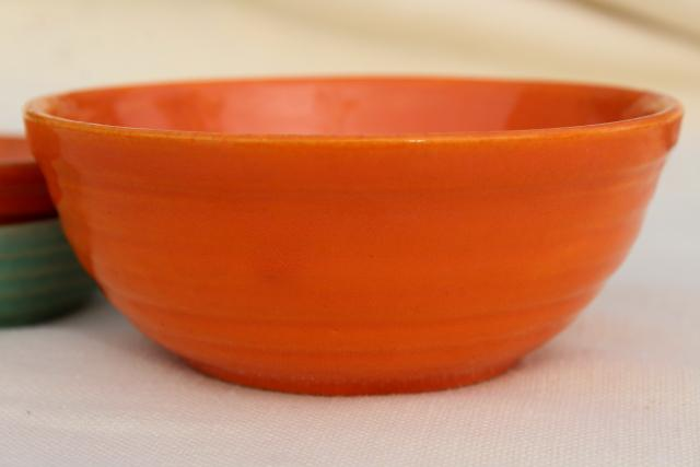 vintage Bauer pottery ringware ring band planter bowl saucers, southwest orange & aqua