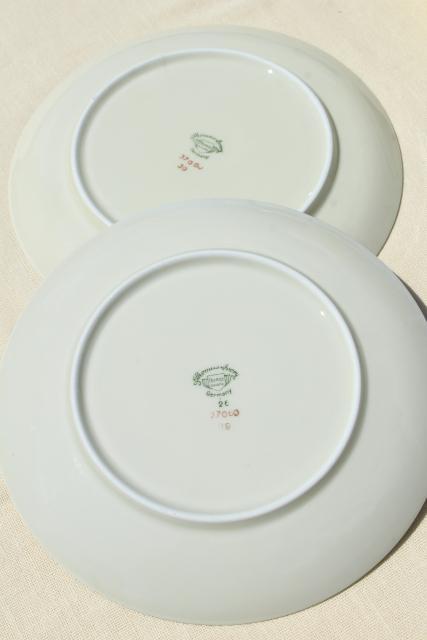 vintage Bavaria china Thomas ivory salad plates mint green border center floral & vintage Bavaria china Thomas ivory salad plates mint green border ...