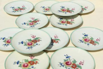 vintage Bavaria china Thomas ivory salad plates, mint green border center floral