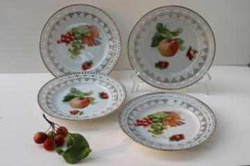 vintage Bavaria china fruit plates w/ grapes, apples, berries - fancy reticulated border