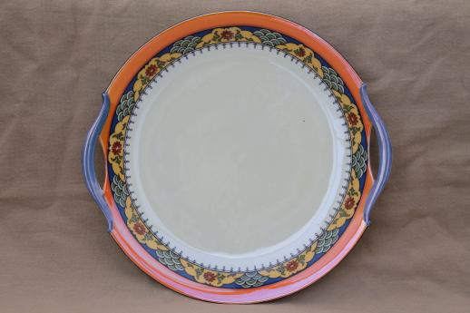 vintage Bavaria china serving plate, porcelain sandwich tray w/ art deco border in orange & blue