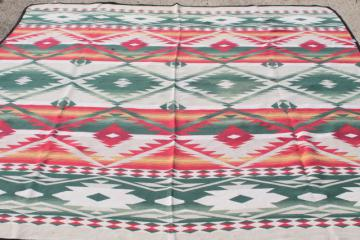 vintage Beacon cotton camp blanket, Indian blanket woven red, green, gold on cream