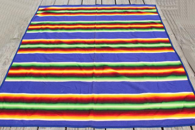 vintage Beaver State blanket, striped wool camp blanket w/ Pendleton label