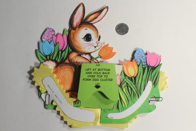 vintage Beistle Easter bunny honeycomb paper basket & eggs, holiday party paper decoration