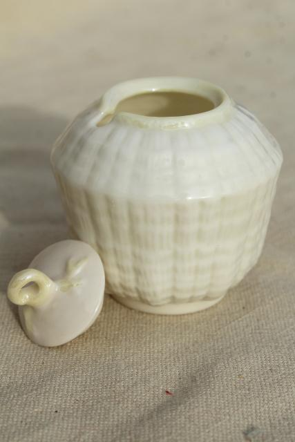 vintage Belleek china, tridacna yellow tiny jam or mustard pot condiment jar