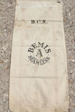 vintage Bemis heavy cotton grain sack, old farm country primitive striped feed bag