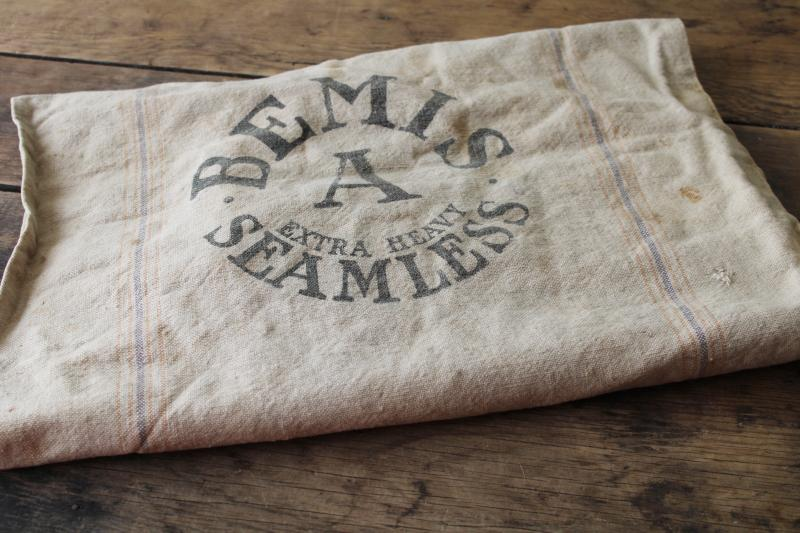 vintage Bemis seamless striped cotton fabric grain sack, old Badger advertising graphics