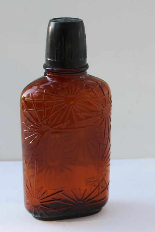 vintage Ben Burk Boston Distillers embossed amber glass whiskey flask bar bottle
