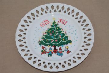 vintage Berggren Christmas plate, God Jul Scandinavian tomten elves / gnomes