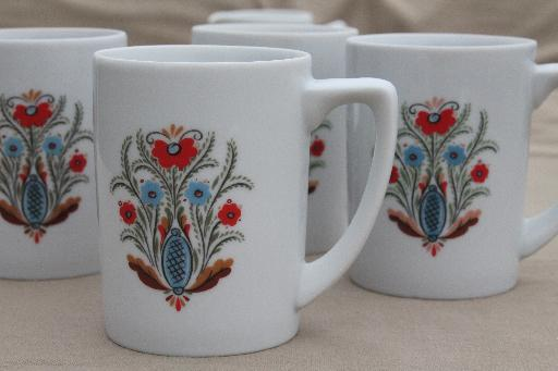 vintage Berggren china plates \u0026 mugs set for 4 red \u0026 blue rosemaled flower & vintage Berggren china plates \u0026 mugs set for 4 red \u0026 blue rosemaled ...